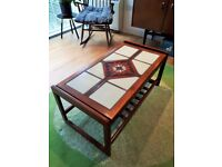 Mid Century teak tiled coffee table, 1970s vintage retro G Plan Danish era
