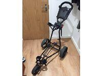 Golf Trolley - Big Max TI1000 Autofold Plus 3 Wheel Push Trolley with umbrella holder