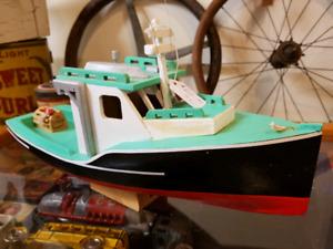 Folk Art Hand Made Wood Fishing Boat Vintage Maritime