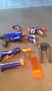 Nerf blasters and attachments