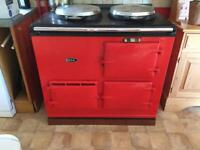 Red Aga Rayburn for sale. Recently serviced.