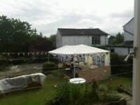 Gazebo with turret shaped red frill 3mx6m used once
