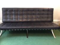 MIES VAN DER ROHE BLACK SOFA BARCELONA STYLE 3 SEATER SETTEE - Amazing buy!
