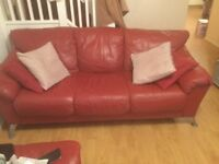 Leather Sofa for sale, red, 3 seater