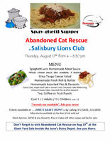 SPAYGHETTI DINNER Abandoned Cat Rescue at Salisbury Lions Club T