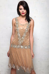 "Frock and Frill ""Zelda"" Tan Beaded 20s Flapper Dress"