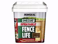 OVER PURCHASED Ronseal One Coat sprayable fencelife medium oak 5 litre