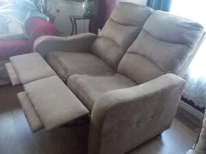 brown double recliner