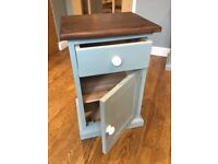 bedside tables with drawer and shelf.