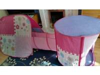 ELC Pink Pop-up Tents and Tunnel