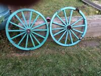 Old/ antique? Wagon/ cart wheels x2