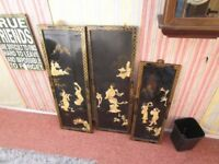 **REDUCED** SET OF 3 ORIENTAL EBONISED FRAMED MOTHER OF PEARL WALL HANGINGS 36ins; TALL X 12ins WIDE
