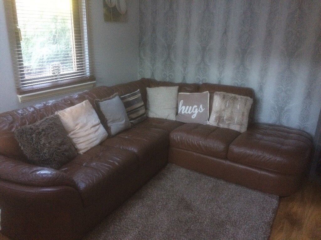 Brown Leather Corner Couch Sofa Suite In Cumbernauld