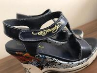 Ed Hardy genuine ladies Wedge sandals shoes - size 6