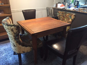 Antique Oak Flip Top Table and Chairs