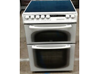 Y195 white creda 60cm double oven ceramic hob electric cooker comes with warranty can be delivered