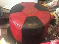 Red and black leather cushion seat