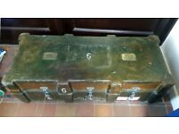 Beautiful Vintage Military Chest / Trunk / Box - Industrial