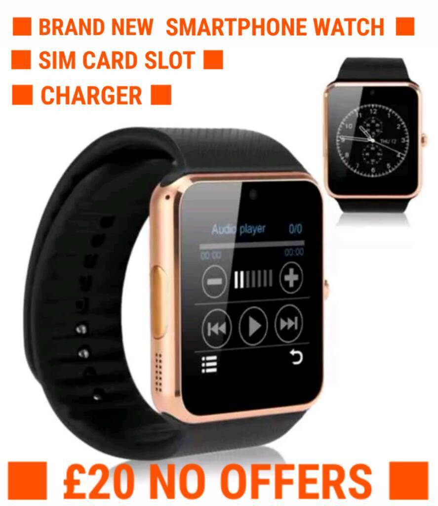 BRANDNEW SMARTPHONE WATCH UNLOCKED20in Sandwell, West MidlandsGumtree - ● BRANDNEW SMARTPHONE WATCH ●● FACTORY UNLOCKED, HAS SIMCARD SLOT, TAKES ANY SIMCARD ●● CHARGER CABLE ●● £20 NO OFFERS /NO SWAPS. ITS CHEAP. IDEAL GIFT ● ● ONLY 5 LEFT, HURRY! ●( COLLECTION WEST BROMWICH B70 AREA OR I CAN...