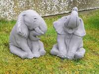 Elephants x2;cast stone garden ornament
