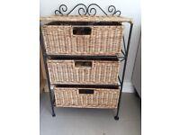 Three drawer wicker and cast iron storage rack / basket