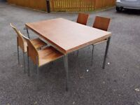 Medium Wood Veneer & Chrome Dining Table & 4 Chairs FREE DELIVERY 534