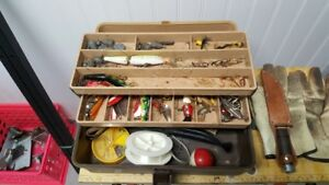 tackle box and  hooks