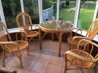 Conservatory Cane table and chairs