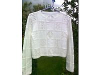 White professionally hand-knitted designer summer top - delicate open work pattern - size 12 ish
