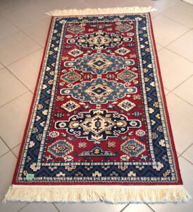 Beautiful Red & Blue Wool Area Rug