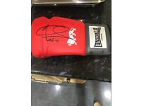 Red Lonsdale boxing glove signed by joe calzaghe