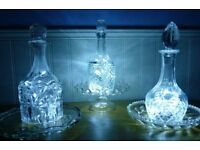Decanter lights - with LED lights or Candles - indoors or outside.
