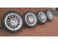 """15"""" 4x108 OZ racing superleggera alloy wheels & tyres"""
