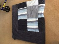 Navy Blue Patterned and Quilted Double Blanket ** Faded - hence price **