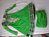 Complete Punjabi Suit with duppatta and Salwar Green. Size 12