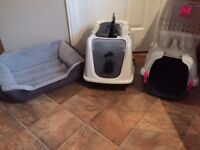 Cat bed, litter box and carry case