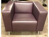 Two Beautiful Large Leather Designer Armchairs | Mauve | Contemporary Style