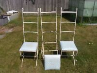 """VINTAGE STEEL GARDEN CHAIRS X """"THREE"""" IN NEED OF SOME TLC STILL IN GOOD STRONG CONDITION"""