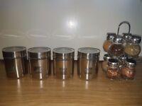 8 Jar Stainless Spice Rack & Seasoning New & 4 Glass Stainless Jars
