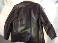 Men's Quality Black Leather jacket-detachable quilted zipped lining. Size L-42/44. As new condition