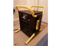 2 x Stanley Electric commercial / industrial fan heater 2kw blow heater adjustable heat settings