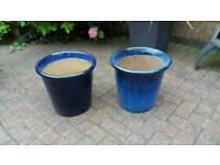 Blue glazed pots