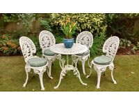 White Cast Iron Garden Table and 4 Chairs