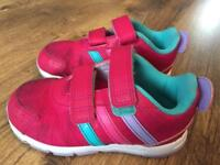 Adidas girls trainers in pink child size 9