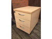 Set of three drawer lockable cabinet