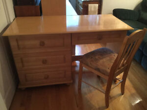 Wooden Desk and Chair and Matching Dresser with Hutch -
