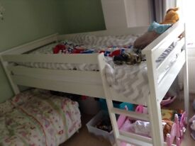 White midsleeper bed with pull out desk