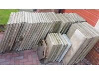 Garden Concrete Slabs - Good Condition: 48 full size & 10 partial for £150 or best offer!