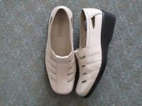 Size 4 cream leather Hotter slip on shoes. As new, lightweight and suitable for summer.