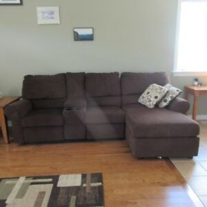 couch with 2 power recliners, attached chaise lounge